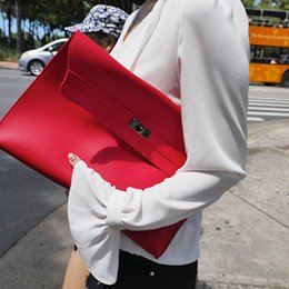 Wholesale Big Fashion Hand Bags - Stylish new casual simple big envelope woman hand clutch leather bag