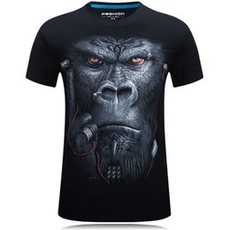 Wholesale Earphones Shirt - Wholesale- New Summer 2016 Fashion Printing Glasses Earphone gorilla Unisex Breathable Casual 3d T Shirt For Men Shirt Increase code 6XL