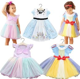 vêtements les plus récents Promotion Les plus récents 2017 Baby Girls kids Dress Summer Princess robe dessin animé Bow Children Party Dresses 3 styles Vêtements pour enfants