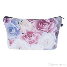 Wholesale Pastel Bags - 2017 Fashion Makeup Bag Wallet Pastel Roses Cosmetics Bag Travel Bag neceser mochila bolsa feminina Handbag organizer Makeup Pouch