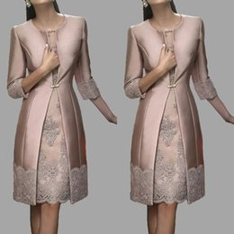 Wholesale Dress Summer Lace Breast - Elegant 2017 Mother Of Bride Dresses With Long Jacket Lace Appliqued Knee Length Mothers Wedding Groom Guest Dress