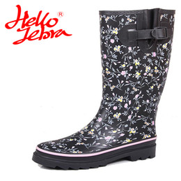 Wholesale Ladies Rubber Boots Designs - Women Winter Rain Boots Lady Knee High With Zip Comfortable Solid Charm Waterproof Rainboots 2017 New Fashion Design