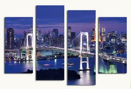 Wholesale Rainbow Spray Paint - 4pcs set Unframed Tokyo Rainbow Bridge Night View On Canvas Wall Art Painting Art Picture For Home and Living Room Decor