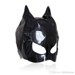 Wholesale Leather Face Mask Sex - Hot sexy Female Sex Bondage Fetish Leather Mistress Cat Hood Adult Half Face Mask Masquerade Costume