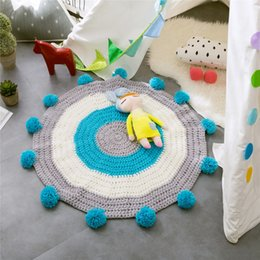 Wholesale Handmade Rugs Carpets - Crochet Round Rugs and Carpets for Home Living Room Handmade Baby Blanket Game Mat Pink Play Mats 80cm free shipping