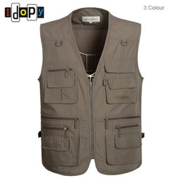 Wholesale Cotton Casual Vests For Men - Wholesale- Mens Oversized XL-5XL Outwear Sleeveless Vests Multipockets Photography Waistcoats For Male
