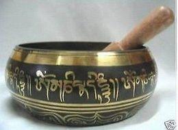 Wholesale Tibetan Bags - Chinese Bronze GLORIOUS OLD YOGA RARE TIBETAN SINGING BOWL