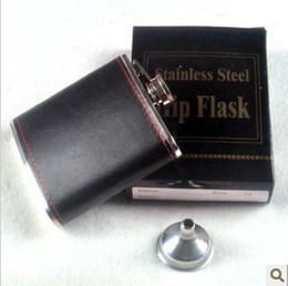 Wholesale Pocket Bottle Leather - Paste Leather Hip Flask With Mini Funnel Stoup Stainless Steel 6oz Flagon Retro Durable Liquor Flasks Drink Wine Bottles Fashion 8 3bz B
