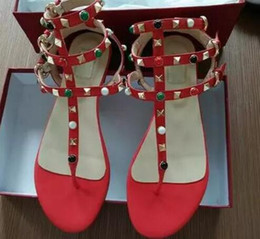 Wholesale Cheap Party Shoes Women - Zapatos Mujer Color Rivets Spiked Gladiator Flat Sandals Stones Studded Flip Sandal Big Size Designer Women's Cheap Shoes Summer
