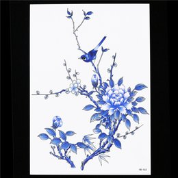 Wholesale Colored Flowers Tattoos - Wholesale- Flower Bird Decal 1 Sheet Waterproof Temporary Tattoo Sticker HB563 Blue Colored Tree Branch Body Arm Art for Women Tattoo Paint