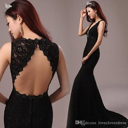 Wholesale Red Apple Charms - 2017 New Backless Mermaid Evening Dresses Charming Long Prom Gowns Sequins Lace Applique Formal Cheap Evening Gowns