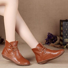 Wholesale Short Rainboots Women - Women cow leather ankle boots lace up single shoes retro Japanese art Sen female round boots women outdoors short boots