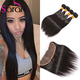 Wholesale Full Natural Hair - 13X4 Peruvian Full Lace Frontals With 3 Bundles,Silk Straight Human Hair With Frontal,8A Body Wave Virgin Hair With Lace Frontal Closure