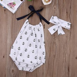 Wholesale Baby Romper Beach - Baby girls sea anchor print romper summer ribbon halterneck romper 2pc set headband+romper infants cute beach clothes outfits for 0-2T