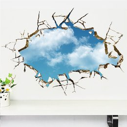 Wholesale 3d Ceiling Stickers - Home Decor Stickers Through Blue sky white clouds stickers removable landscape decals ceiling Nursery kids room decoration art poster