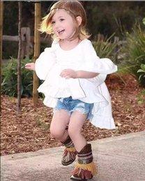 Wholesale Kid Girls Fashion Tops - Kids Girls Bell Sleeve Ruffles Asymmetric Tees Cotton Linen White Children Summer Fall Tops INS Hot Sell Wholesale 6pcs lot