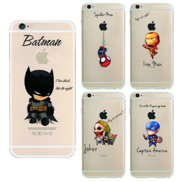 Wholesale Captain Painting - Hulk Batman Coque soft TPU cases For Apple Iphone 7 case iron Man Captain Spider-Man painted Cases for iphone 7 back cover