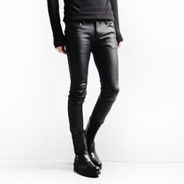 Wholesale Men Fit Coat - Wholesale-Punk Gothic Black Skinny Coated Jeans Men Brand New 2016 Rock Designer Slim Fit Mens Stretch Bootcut Jeans Pants