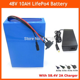 Wholesale 48v lifepo4 battery - Hot sale 48V 10AH LiFePO4 battery 700W 48V Electric Bike battery with PVC case 15A BMS 58.4V 2A charger Free shipping