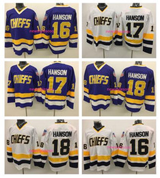 Jack viola online-2017 Hanson Brothers Charlestown Slap Shot Movie Mens Jerseys 16 Jack 17 Steve Hanson 18 Jeff Hanson Purple White Hockey su ghiaccio Jersey