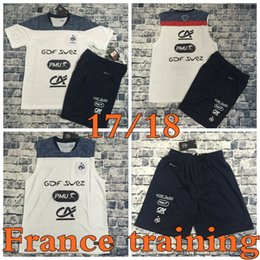 Wholesale Shirts Suits - Top Thai quality 2017 France team Training suit white vest short-sleeved soccer jersey tshorts shirt Size S-XXL 17 18 survetement football