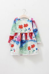 Wholesale Korea Fashion Winter Dress - Girls Dresses Cute Girls Winter Baby Dresses Wedding Party Tutu Korea Fashion Princess Ball Gown Bow Knee-Length 2016 New Autumn