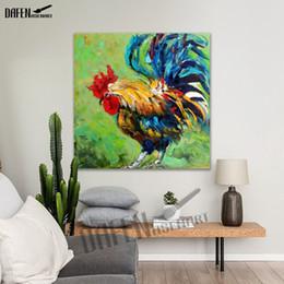 Belles huiles d'art en Ligne-100% peinture à la main Belle peinture à l'huile de coq moderne Animal Square mur Art Art acrylique huile toile décoration de la maison