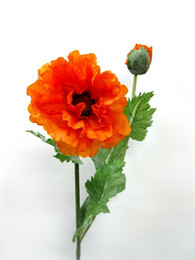 flores de papoula plástico flor de seda artificial 6pcs / lot de alta qualidade para fontes do partido de decoração para casa decoração do casamento de