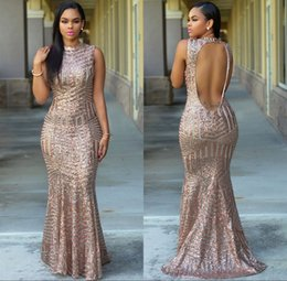Wholesale Sequined Designer Evening Dresses - Blush Rose Gold Sequined Mermaid Prom Party Dresses 2017 Keyhole Back Long Designer Pageant Evening Gown