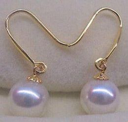 Wholesale Pearl Earring Stud Akoya Gold - Hot sell a pair of AAA 8-9mm round Akoya white pearl earrings 14k gold