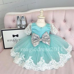 Wholesale Girls Pageant Dresses Mint - Vintage Lace Short Sleeves Flower Girls Dresses Ball Gown 2016 Mint Jewel Silver Bow Short Girls Pageant Dress Kids Dress Communion Gowns