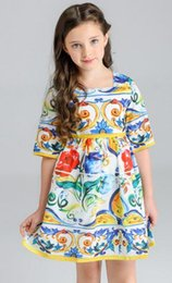 Wholesale United Paints - Foreign trade children 's clothing Europe and the United States painted girls summer models in the sleeves ancient color glaze flowers princ