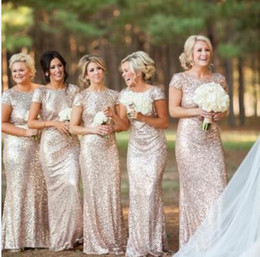 Wholesale Red Sparkle Bridesmaid Dresses - Sparkling Rose Gold Bridesmaid Dresses 2017 High Quality Short Sleeve Backless Sequins Long Mermaid Bling Bling Party Gowns Custom Size