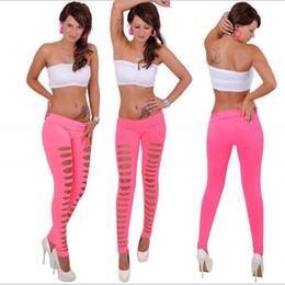 Wholesale Slash Leggings - Brand new Women's Sexy Ripped Leggings Torn Slashed Slit Cut Shredded Mesh Destroyed Leggins Skinny Pants Irregular leggings