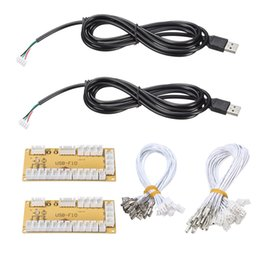 pc arcade controller Coupons - Wholesale- 2Pcs lot DIY Zero Delay Arcade USB Encoder PC To Joystick Replacement Parts USB Cable Encoder Board +Push Buttons Wire Cables