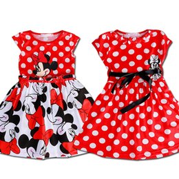 Wholesale Summer Baby Girls Caps - 2017 Hot Sale Lovely Kids Baby Girls Minnie Mouse Dress Girls Summer Dot Dresses with Black Waist Band Cartoon Child Clothes