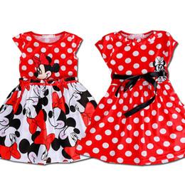 Wholesale Waist Tutu Dress - 2017 Hot Sale Lovely Kids Baby Girls Minnie Mouse Dress Girls Summer Dot Dresses with Black Waist Band Cartoon Child Clothes