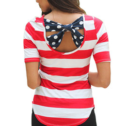 Wholesale Ladies Striped Tees - Wholesale- S-XL Women T-Shirts Summer Loose Casual Cotton Sexy Backless Tee Striped Shirt Bow Tops Ladies Top tshirt camisetas mujer W1