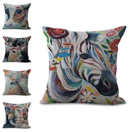 Wholesale Bird Throw Pillows - famous designer Creative Color Painting Animal cat bird horse Design hug pillowcase Decorative Home Chair Throw Pillows Case 45*45cm 300687