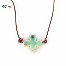 Wholesale Ethnic Crosses - BoYuTe New 5Pcs Chinese Porcelain Ceramic Pendant Cross Necklace Women Ethnic Jewelry Women's Accessories Independent packing
