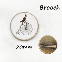 Wholesale Vintage Sport Bikes - Vintage classic simple bicycle pin decoration male magician bike brooches Independent original design sports badge