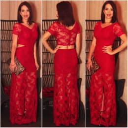 Wholesale Womens Formal Short Dresses - Short Sleeve Mother Of The Bride Dresses Sheath Red Lace V-neck 2017 Slit Formal Womens Grooms Evening Gowns Vestidos Mae Da Noiva