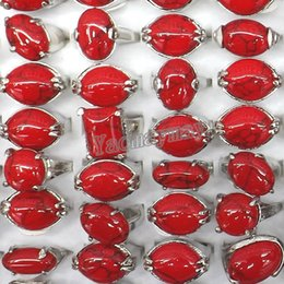 Wholesale Turquoise Stone Ring Free Shipping - 50pcs lot Mixed Lot Red Turquoise Rings Semi-precious Stone Jewelry Free Shipping