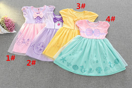 Wholesale Trumpet Bowknot - Girl Beauty and the beast mermaid Dress 4 Style Children Summer Cartoon Cinderella Minnie fish scale bowknot princess dresses DHL Shipping