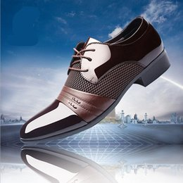 Wholesale Wedding Dresses Lace Up - designer luxury brand patent leather black italian mens shoes brands wedding formal oxford shoes for mens pointed toe dress shoes