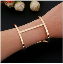 Wholesale Gun Black Bracelet - New jewelry fashion generous opening metal bracelet popular BZ0262 rose gold bracelet gun black bracelet free shipping