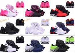 Wholesale Black Tennis Shoes Mens 12 - 2017 New arrival Hot Sale Famous Shox Deliver Mens Womens Athletic Sneakers Sports Running Shoes Size 5.5-12 Drop Shipping