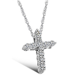 Wholesale Cz Pendent - Wholesale- Fashion Silver plated Cross Christ Jesus necklace Religion women crystal rhinestone CZ sideways pendent necklace collar jewelry