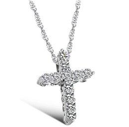 Wholesale Cross Religion - Wholesale- Fashion Silver plated Cross Christ Jesus necklace Religion women crystal rhinestone CZ sideways pendent necklace collar jewelry