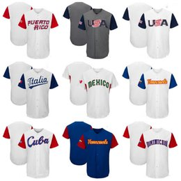 Wholesale usa mike - Men's USA Canada Dominican Republic Puerto Rico Mexico Venezuela Cuba Baseball 2017 World Baseball Classic Custom Team Jersey